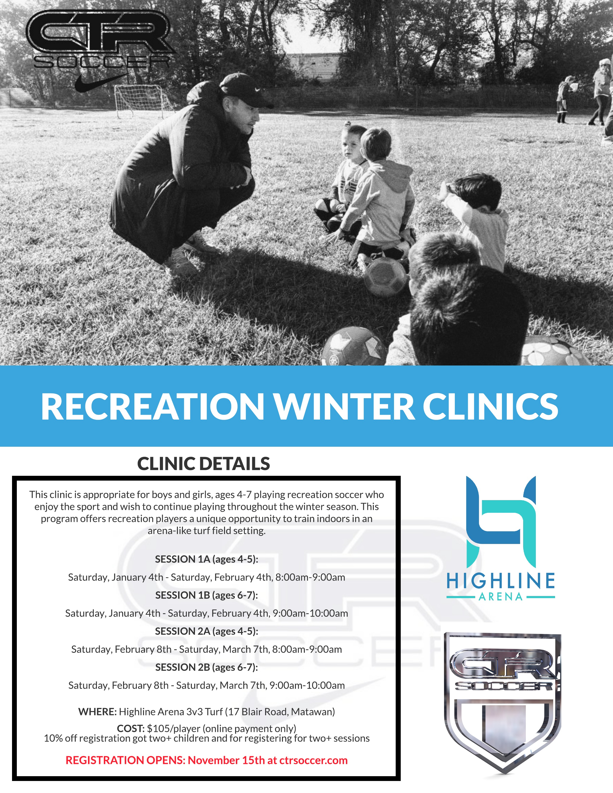 Recreation Winter Clinic with CTR Soccer at the Highline Arena